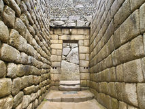Doorway of Inca temple at Machu Picchu stock image