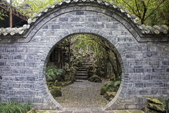 Doorway inside the People`s Park in Chengdu, China Royalty Free Stock Photos