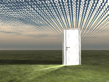 Doorway in landscape with binary. Streaming Stock Photo