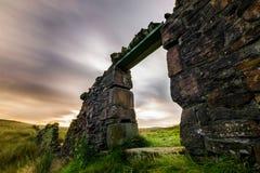 The Doorway. Long exposure shot of an old doorway in a stone wall in Rivington, Lancashire, UK Stock Photo