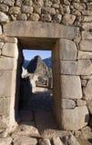 Doorway Machu Picchu. The mountain of Machu Picchu in a doorway Stock Photo