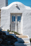 Doorway on Mykonos looking through to the sea stock image