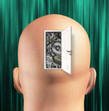 Doorway opens to gears mind Stock Photo