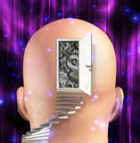 Doorway opens to gears mind Stock Image