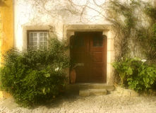 Doorway, Portugal. Photo of a House, Obidos, Portugal stock photography