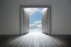 Doorway revealing bright blue sky Royalty Free Stock Photo