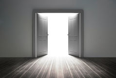 Doorway revealing bright light Royalty Free Stock Photography