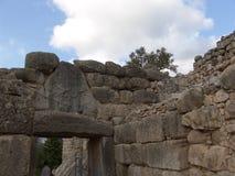 Doorway of ruins at Mycenae, Greece Stock Images