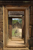 Doorway and sculpted wall Royalty Free Stock Images