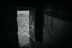 The doorway. Seeing out of the old lighthouse Stock Photography