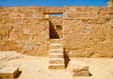 Doorway and stairs in a ruined palace. Stone doorway and single staircase in a ruined ancient palace in Nabathean city of Mamshit (Negev Desert, Israel Stock Photo