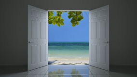 Doorway to the beach 3D animation stock video