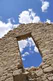 Doorway to Clouds. In Old Abandoned Mining Ruins Royalty Free Stock Photos