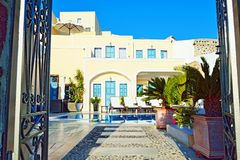 Luxury resort hotel entrance Santorini Greece Stock Photo