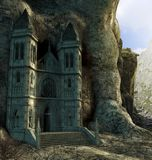 Enchanting hidden sanctuary in mountains royalty free illustration
