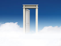 Doorway to Heaven. A white doorway to Heaven against blue sky and clouds Royalty Free Stock Images