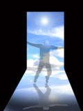 Doorway to heaven. An image showing a person standing in the doorway to heaven with a bright white light coming towards then. This image has a blur effect over Stock Image