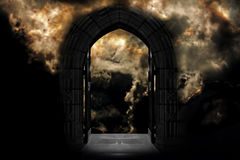 Doorway to Heaven or Hell. Against dramatic stormy sky royalty free stock image