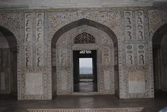 The doorway to heaven. The doorway, in one of the forts of India. It paid to live like a king in the olden era. Intricate carving, in the Taj  Mahal, the Royalty Free Stock Photography