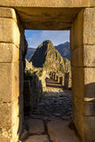 Doorway to Machu Picchu. The entrance to Machu Picchu, the mythical home of the ancient Incas in the mountains of Peru Stock Photos