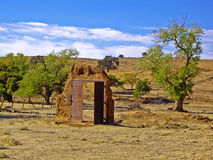 Doorway to Nowhere. Doorway stands alone in desert on Route 66 USA Royalty Free Stock Images