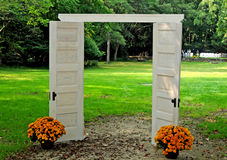 Doorway to the park. Image of open doos on the park Royalty Free Stock Image