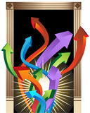Doorway to Success. Rising 3D arrows coming through a decorated frame Royalty Free Stock Photo