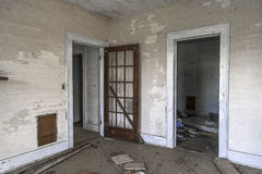 Doorways in an abandoned home at an angle Royalty Free Stock Photography