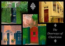 The Doorways of Charleston. A photographic collage  of several unique doorways in the city of Charleston South Carolina Royalty Free Stock Photos