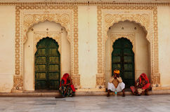 Doorways and Locals, Meherangarh Fort, Jodhpur, India Royalty Free Stock Photo