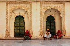 Doorways and Locals, Meherangarh Fort, Jodhpur, India Royalty Free Stock Photo