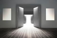 Doorways opening to reveal bright light. At the end Royalty Free Stock Image