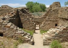 Doorways to West Ruin. West Ruin is the part of historic idian dwelling in Aztec Ruins National Monument Stock Images