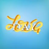 Doorweven het van letters voorzien ` Liefde dag ` Banner voor de dag van Valentine ` s, 14 Februari Royalty-vrije Stock Fotografie
