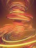 Doorwevende abstracte rode en oranje krommen het 3d teruggeven Stock Foto