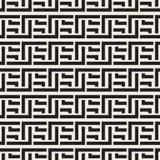 Doorwevende Lijnen Maze Lattice Etnische Zwart-wit Textuur Vector naadloos zwart-wit patroon Stock Foto's