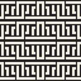 Doorwevende Lijnen Maze Lattice Etnische Zwart-wit Textuur Vector naadloos zwart-wit patroon Stock Afbeelding