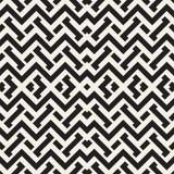 Doorwevende Lijnen Maze Lattice Etnische Zwart-wit Textuur Vector naadloos zwart-wit patroon Royalty-vrije Stock Foto's