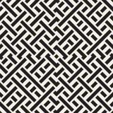 Doorwevende Lijnen Maze Lattice Etnische Zwart-wit Textuur Vector naadloos zwart-wit patroon Stock Foto