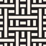Doorwevende Lijnen Maze Lattice Etnische Zwart-wit Textuur Vector naadloos zwart-wit patroon Stock Afbeeldingen