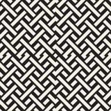 Doorwevende Lijnen Maze Lattice Etnische Zwart-wit Textuur Vector naadloos zwart-wit patroon Royalty-vrije Stock Fotografie