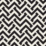 Doorwevende Lijnen Maze Lattice Etnische Zwart-wit Textuur Vector naadloos zwart-wit patroon Royalty-vrije Stock Foto