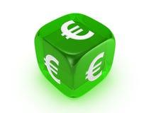 Doorzichtige groen dobbelt met euro teken Stock Fotografie