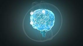 Doorzichtige hersenen die tegen donkere achtergrond roteren royalty-vrije illustratie
