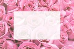Doorzichtige Lege groetkaart op selectie van roze achtergrond stock afbeeldingen
