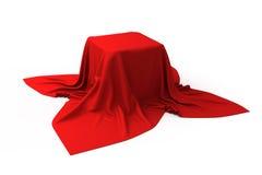 Doos die met een rode doek wordt behandeld royalty-vrije illustratie
