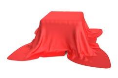 Doos die met een rode doek wordt behandeld vector illustratie