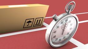 Doos en chronometer het rennen. Dit symboliseert op tijd levering Stock Foto