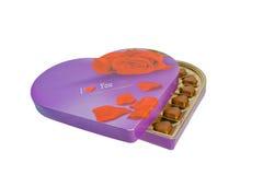doos met chocoladeharten Stock Fotografie