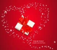 doos met een rood boog en een hart van de sterren Royalty-vrije Stock Foto
